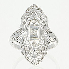18K White Gold Diamond Ring Size 5.75