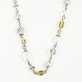 David Yurman 925 Sterling Silver with Cultured Pearl, Peridot and Quartz Necklace