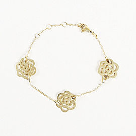 Chanel 18K Yellow Gold Three Camellia Bracelet