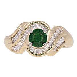 14K Yellow Gold Tsavorite Garnet, Diamond, Tsavorite Ring Size 7.25