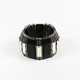 Lanvin Black Gold Tone Enamel Crystal Bracelet