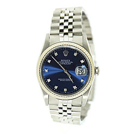Rolex Datejust Diamond Blue Dial Stainless Steel Watch 16234