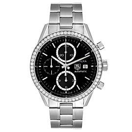 Tag Heuer Carrera Steel Black Dial Diamond Chronograph Mens Watch CV201J