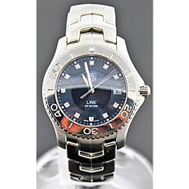 TAG HEUER MENS LINK WJ111A.BA0575 DIAMOND DIAL QUARTZ BLUE WATCH