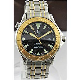 OMEGA SEAMASTER 2455.50 LARGE 18K GOLD BEZEL DIVER AUTOMATIC BLACK WATCH