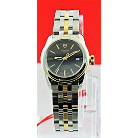 TUDOR GLAMOUR DATE 51003-68013 26MM LADIES 18K GOLD BLACK LUXURY WATCH