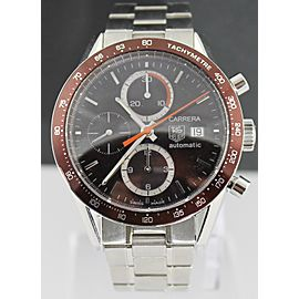 TAG HEUER CARRERA CV2013.BA0786 CHRONO AUTO STEEL BROWN WATCH