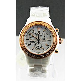 MICHELE LADIES JETWAY MWW17B000008 CERAMIC DIAMOND ROSE GOLD QUARTZ WATCH