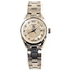 ORIGINAL TAG HEUER LADIES CARRERA WV1411.BA0793 WHITE PEARL DIAMOND QUARTZ WATCH