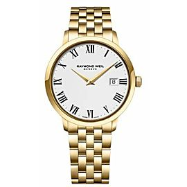 RAYMOND WEIL TOCATTA 5488-P-00300 MEN'S WHITE DIAL GOLD TONE WATCH