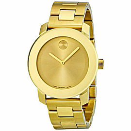 MOVADO BOLD 3600085 GOLD TONE LADIES SUNRAY DIAL SWISS QUARTZ WATCH