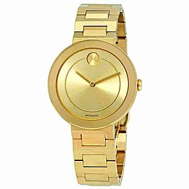 MOVADO BOLD 3600498 GOLD TONE LADIES GOLD DIAL SWISS QUARTZ 34MM WATCH