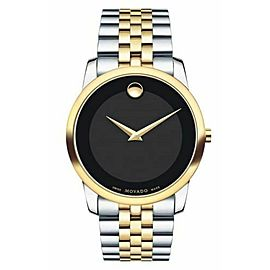 MOVADO MUSEUM 0606899 BLACK MUSEUM TWO TONE SWISS QUARTZ MENS WATCH