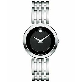 MOVADO LADIES ESPERANZA 0607051 BLACK STAINLESS STEEL CONCAVE WATCH