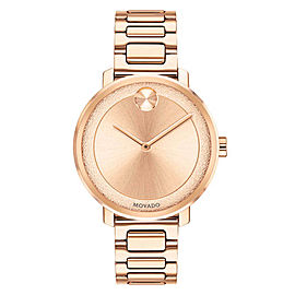 MOVADO BOLD 3600503 ROSE GOLD TONE LADIES SUGAR DIAL SWISS QUARTZ WATCH