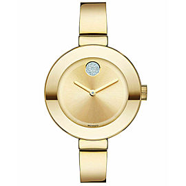 MOVADO BOLD 3600202 SWAROVSKI GOLD LADIES BANGLE SWISS QUARTZ WATCH