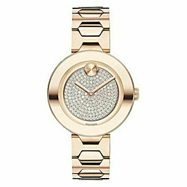 MOVADO BOLD T-BAR CARNATION 3600493 ROSE GOLD TONE LADIES SWISS QUARTZ WATCH