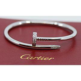 Cartier Juste Un Clou Diamond 18K White Gold Bracelet Size 16