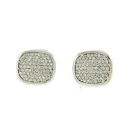 David Yurman Pave Diamond 18K White Gold Cufflinks
