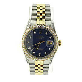 Rolex Datejust Diamond Blue Dial 18K/Stainless Steel Watch 16013