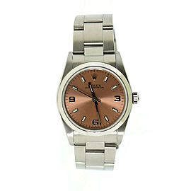 Rolex Oyster Perpetual Pink Dial Stainless Steel Watch 77080