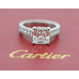 Cartier 3.34 D/IF CTW Asscher Diamond Platinum Engagement Ring Size 5