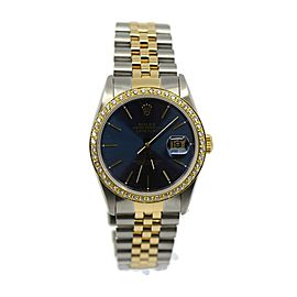 Rolex Datejust Diamond Blue Dial 18K/Stainless Steel Watch 16233