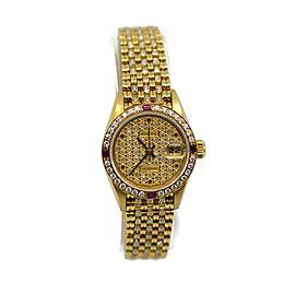Rolex Datejust President Factory Diamond Rubies 18K Yellow Gold Watch 69068