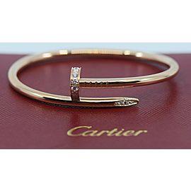 Cartier Juste Un Clou Diamond 18K Rose Gold Nail Bracelet Size 16