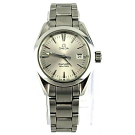 OMEGA SEAMASTER AQUA TERRA 2577.30 SWISS QUARTZ LADIES SILVER STEEL LUXURY WATCH