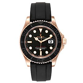 Rolex Yachtmaster 40mm Everose Gold Rubber Strap Watch 116655