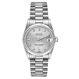 Rolex President Datejust Midsize White Gold Diamond Watch 68279