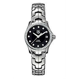 TAG HEUER WOMENS LINK WJF131A.BA0572 DIAMOND BEZEL BLACK QUARTZ WATCH FOR HER