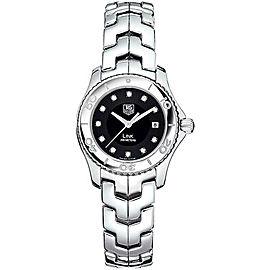 TAG HEUER LADIES LINK WJ1318.BA0572 BLACK DIAMOND SWISS QUARTZ STEEL WATCH