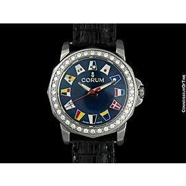 CORUM ADMIRAL'S CUP Ladies SS Steel & Diamond Watch - $6,650, Mint - Warranty