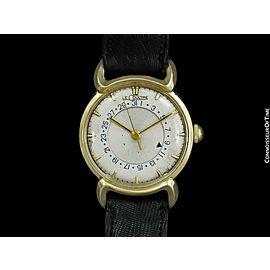 1954 JAEGER-LECOULTRE Vintage Calendar Date Mens Watch - 14K Solid Gold