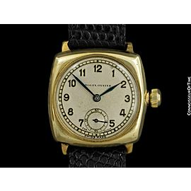 1937 ROLEX Rare Early Oyster Vintage Mens 9K Gold Watch - Original with Warranty