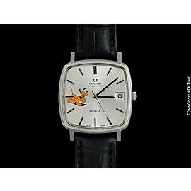 1979 OMEGA DE VILLE Vintage Mens SS Steel Watch with Disney's Pluto Dog - Mint