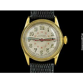 """1941 ROLEX OYSTER RECORDA Vintage Mens """"Boys"""" WWII Military Style Watch - Rare"""