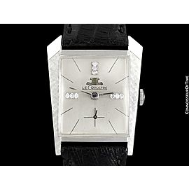 1965 JAEGER-LECOULTRE Vintage Mens Asymmetrical Watch - 14K White Gold & Diamond