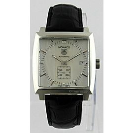 TAG HEUER MONACO WW2112.FC6177 AUTOMATIC CALIBRE 6 SILVER LEATHER MENS WATCH