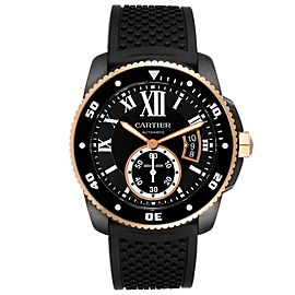 Cartier Calibre Diver ADLC Steel Rose Gold Mens Watch W2CA0004