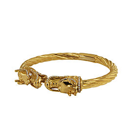 Unique Dragon 18k Yellow Gold Diamond Cuff Bracelet