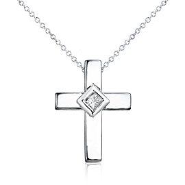Diamond Solitaire Cross Pendant & Chain in 14K White Gold