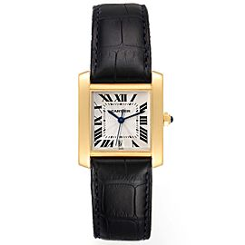 Cartier Tank Francaise Large Yellow Gold Brown Strap Mens Watch W5000156