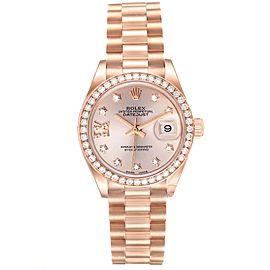 Rolex President 28 Rose Gold Diamond Ladies Watch 279135