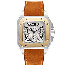 Cartier Santos 100 XL Silver Dial Chronograph Steel Mens Watch