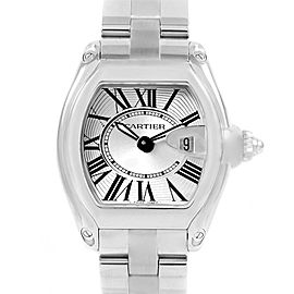 Cartier Roadster Silver Dial Steel Ladies Watch W62016V3 Box Papers