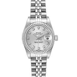 Rolex Datejust Steel White Gold Silver Diamond Dial Ladies Watch