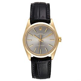 Rolex Oyster Perpetual Yellow Gold Grey Dial Vintage Mens Watch